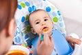 Adorable little baby boy enjoy eating fruit mash Royalty Free Stock Photo