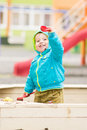 Adorable little boy is playing at the playground Royalty Free Stock Photo