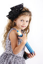 Adorable little girl with big crayon Royalty Free Stock Photo