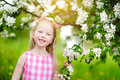 Adorable little girl in blooming apple tree garden on beautiful spring day Royalty Free Stock Photo