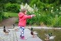 Adorable little girl feeding ducks at summer Royalty Free Stock Photo
