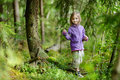 Adorable little girl hiking in the forest on summer day Royalty Free Stock Photo