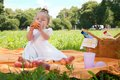 image photo : Adorable little girl on picnic in the beauty park