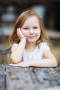 Adorable little girl portrait of cute outdoors Stock Photo