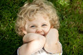 Adorable little girl taken closeup outdoors in summer Royalty Free Stock Image