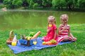 Adorable little kids picnicing in the park at two girls on picnic Royalty Free Stock Photography
