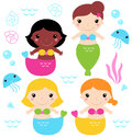 Adorable little mermaid set cute colorful mermaids with sea creatures vector Royalty Free Stock Photo
