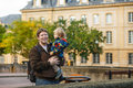 Adorable little son and father in autumn city boy his Royalty Free Stock Photo
