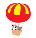 Adorable little teddies in an air balloon illustration Royalty Free Stock Images