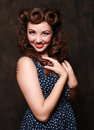 Adorable Pin Up Style Girl in Studio Stock Images