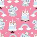 Adorable pink seamless pattern with rainbow,unicorn cake,heart,elephant and ribbon