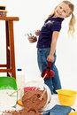 Adorable Preschool Girl Child Baking Stock Photo