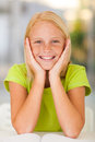 Adorable preteen girl portrait at home Stock Photography