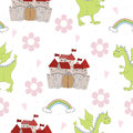 Adorable seamless pattern with funny dragons and castle in cartoon