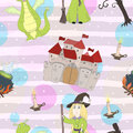 Adorable seamless pattern with funny dragons, witch, castle, boiler in cartoon