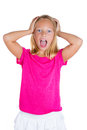 Adorable shocked kid closeup portrait of with hands on head isolated on white background Stock Photos