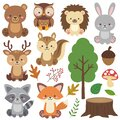 Adorable sitting woodland animals vector set. Forest animals in cartoon flat style. Wild animals clipart.