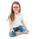 Adorable small girl is sitting down Royalty Free Stock Photo