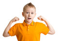 Adorable ten years old boy with funny face expression isolated Royalty Free Stock Images