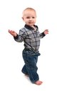 Adorable Toddler Boy Walking Sideways Royalty Free Stock Photos