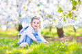 Adorable toddler girl in fairy costume in fruit garden Royalty Free Stock Photo