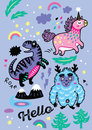 Adorable wallpaper in the childish style with unicorn, yeti, dino