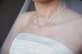 Adornment on neck of bride Stock Photo
