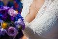 Adornment on neck of bride Stock Photos