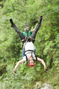 Adrenaline Search On Zip Line Royalty Free Stock Photo