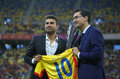 Adrian mutu honored before romania vs georgia former football player l is by the romanian football federation the friendly match Stock Image
