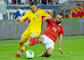 Adrian popa and arda turan in romania turkey world cup qualifier game s s pictured action during the between Royalty Free Stock Photos