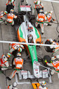 Adrian Sutil pits at the Malaysian Formula 1 Stock Photo