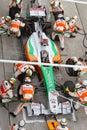 Adrian Sutil pits at the Malaysian Formula 1 Stock Photo