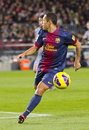 Adriano correia of fcb in action at the spanish league match between fc barcelona and osasuna final score on january in barcelona Stock Photos