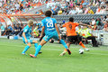 Adriano luiz surrounded by rivals during the match between shakhtar donetsk city ukraine vs zenit st petersburg russia united Stock Images