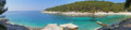 Adriatic beach panorama long horizontal panoramic image of the beaches in the croatian s sea mediterranean vegetation a dock white Royalty Free Stock Photos
