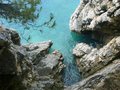 Adriatic sea rocky coast of in montenegro Royalty Free Stock Photo