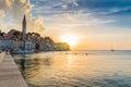 Adriatic sea view at Rovinj, popular touristic destination of Croatian coast Royalty Free Stock Photo
