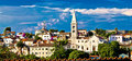 Adriatic Town of Losinj church - mediterranean architecture Royalty Free Stock Photo