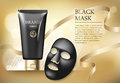 Ads template, blank skin care mockup with realistic black anti blackhead mask, plastic tubes of premium skincare product
