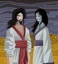 Izanami and izanagi japan mythology tale in the underworld Royalty Free Stock Photo