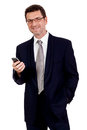 Adult businessman with smartphone mobilephone isolated on white Stock Photo