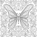 Adult coloring book with butterfly in flowers pages, zentangle v