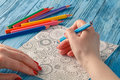 Adult coloring books colored pencils anti stress tendency hobbi hobbies woman s hands painting relief painter Royalty Free Stock Image