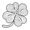 Adult coloring pages in doodle style, ethnic ornamental illustration. Hand drawn four leaf clover.