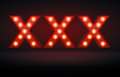 Adult content glowing lights xxx adboard ready for material Royalty Free Stock Photography