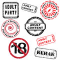 Adult content stamp series and bachelors party stamps collection isolated on white Stock Photos
