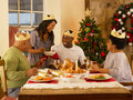 Adult family having christmas dinner Stock Photography