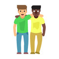 Adult guys, two best friends. Friendship flat illustration
