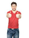 Adult happy man with thumbs up gesture in casuals isolated on white background Royalty Free Stock Images